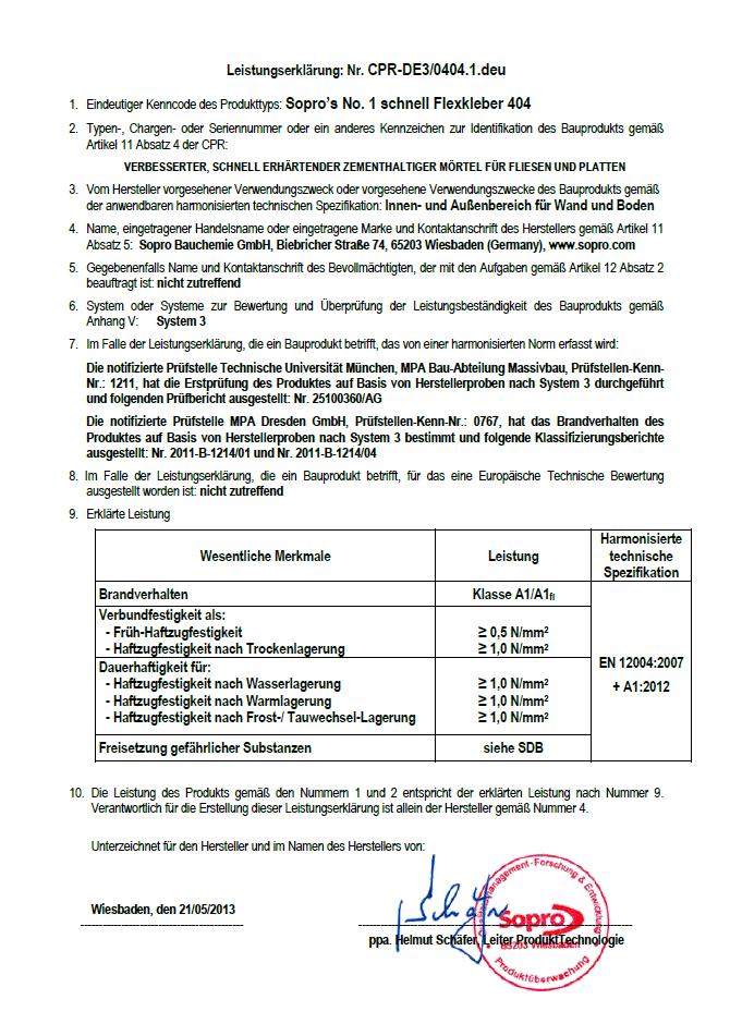 Leistungserklärung SH 32310 MULTISTAR Ansatzkleber Flexfliesenkleber Sopro Nr. 1 schnell 404