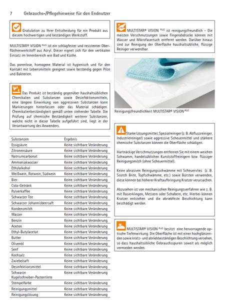 Pflegeanweisung Glaslaminat