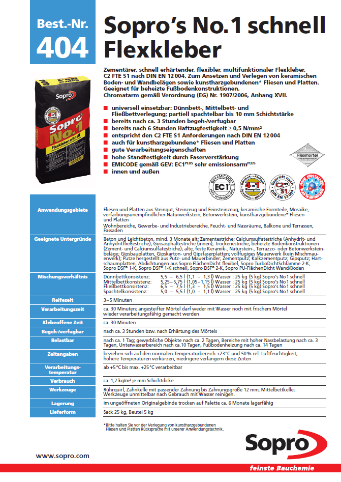 SH 32310 MULTISTAR<sup>®</sup> Ansatzkleber Flexfliesenkleber Sopro
