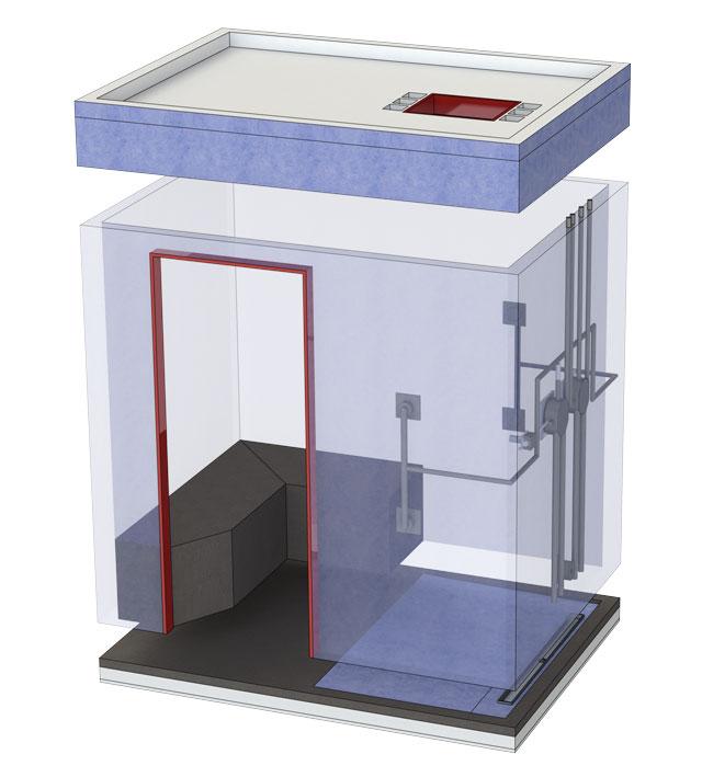 Dampfkabine für eine Grundfläche bis 3 m²