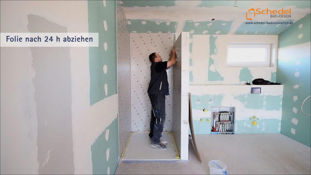 Montage mit Glaslaminat im Duschbereich